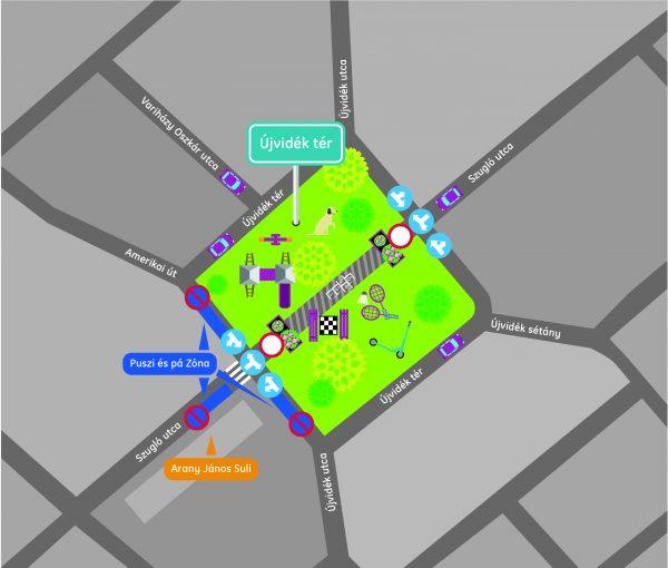Újvidék tér ideiglenes forgalmi rend
